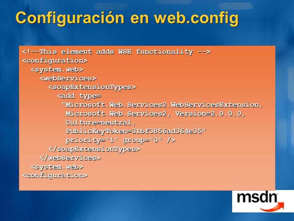Configuración en web.config