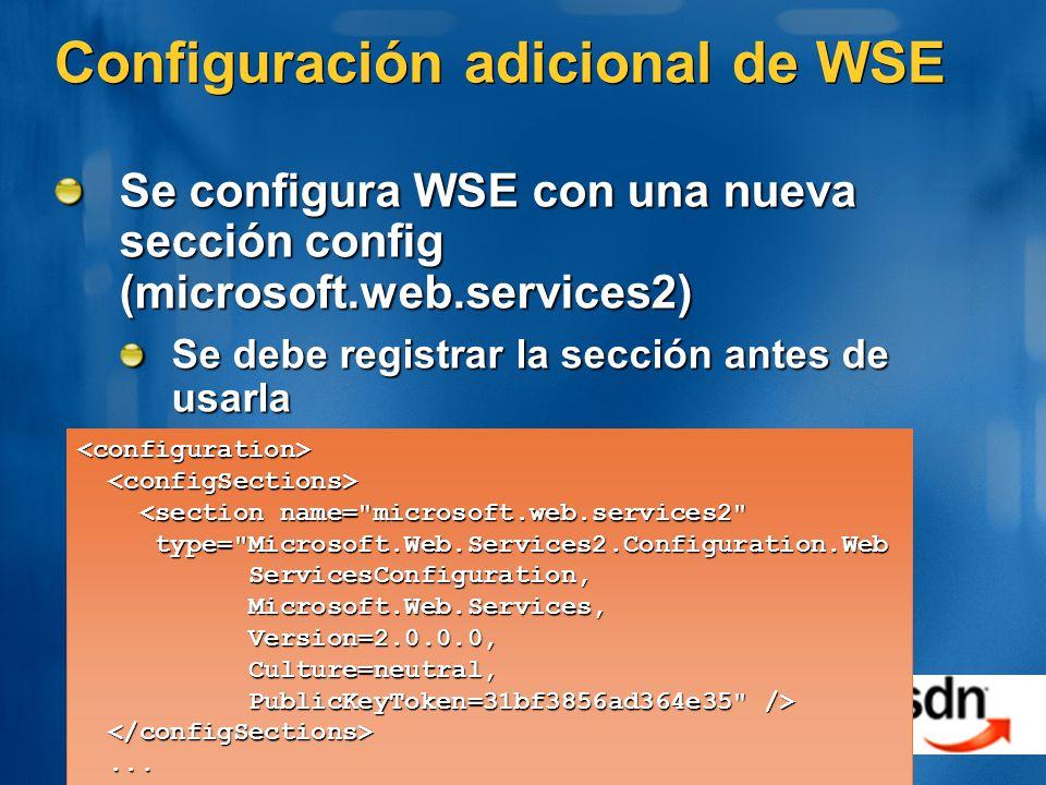 Configuración adicional de WSE
