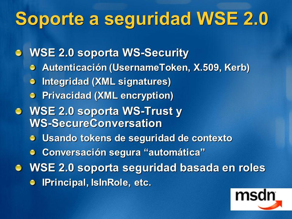 Soporte a seguridad WSE 2.0