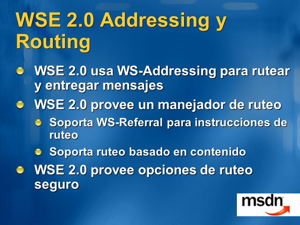 WSE 2.0 Addressing y Routing