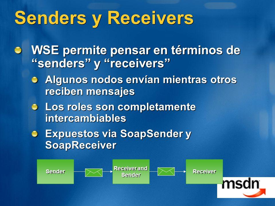 Senders y Receivers WSE permite pensar en términos de senders y receivers Algunos nodos envían mientras otros reciben mensajes.