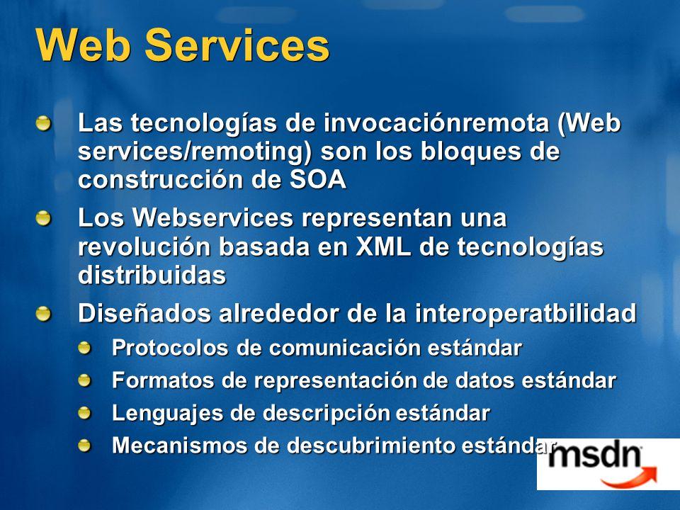Web Services Las tecnologías de invocaciónremota (Web services/remoting) son los bloques de construcción de SOA.