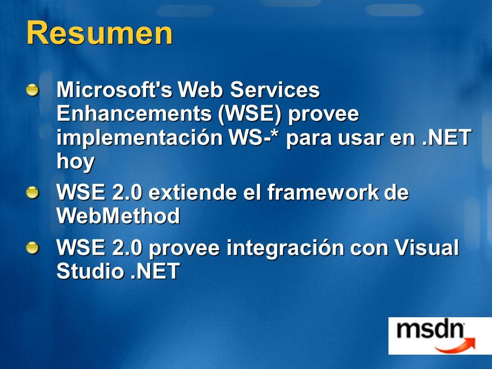 Resumen Microsoft s Web Services Enhancements (WSE) provee implementación WS-* para usar en .NET hoy.