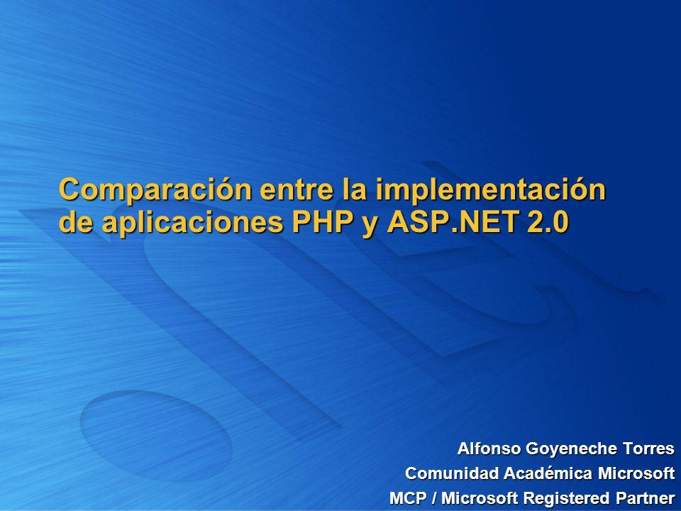 Comparación entre la implementación de aplicaciones PHP y ASP.NET 2.0