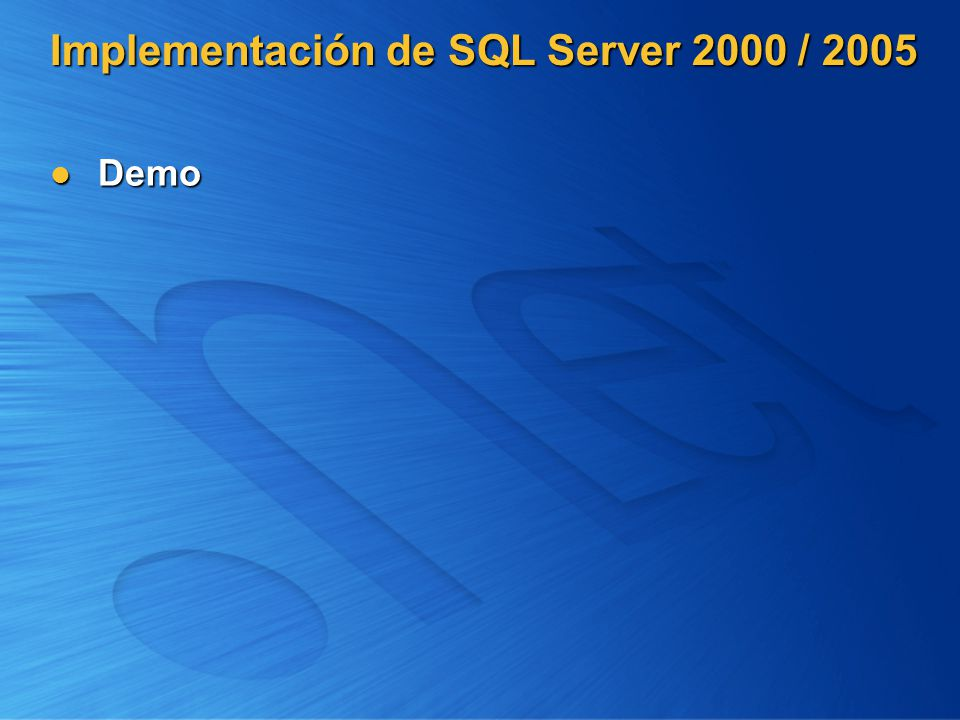 Implementación de SQL Server 2000 / 2005