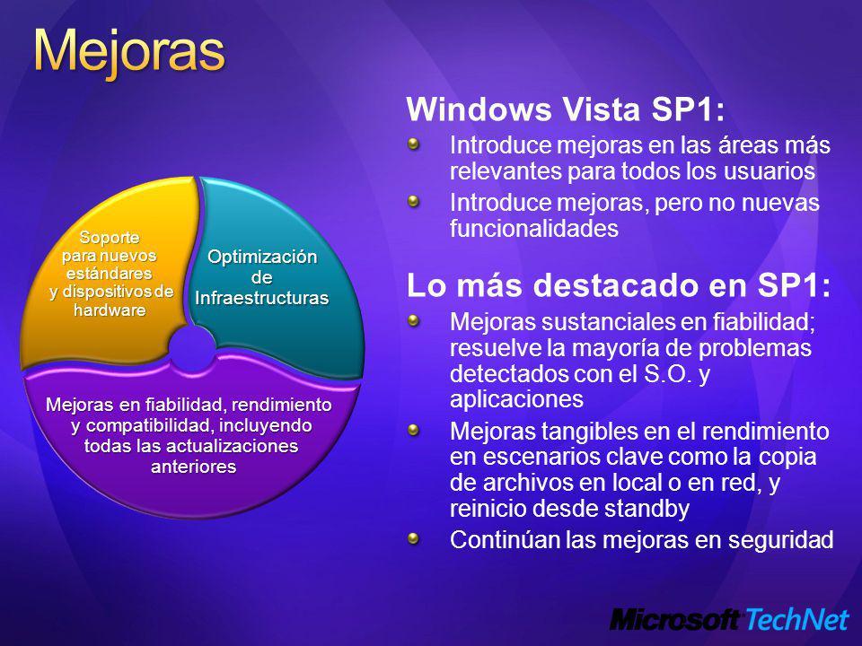 Mejoras Windows Vista SP1: Lo más destacado en SP1: