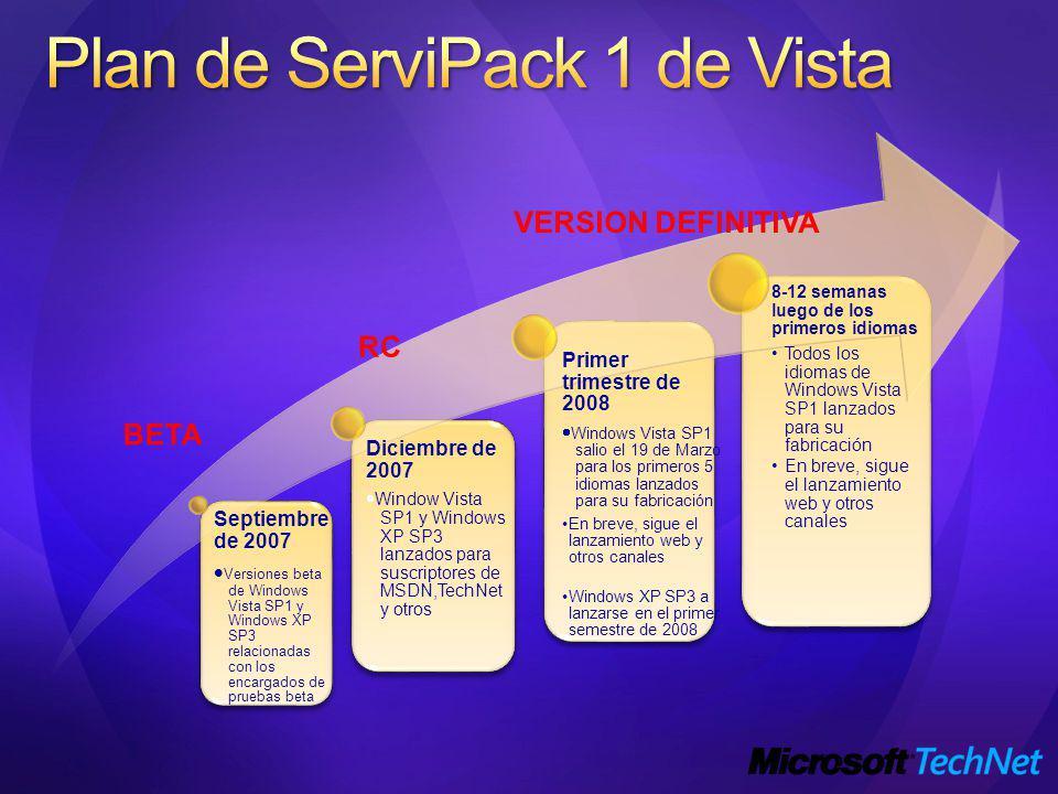 Plan de ServiPack 1 de Vista
