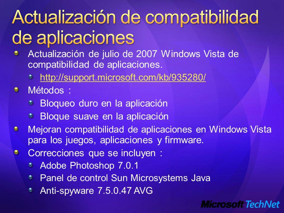 Actualización de compatibilidad de aplicaciones