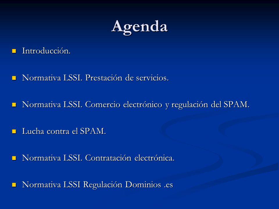 Agenda Introducción. Normativa LSSI. Prestación de servicios.