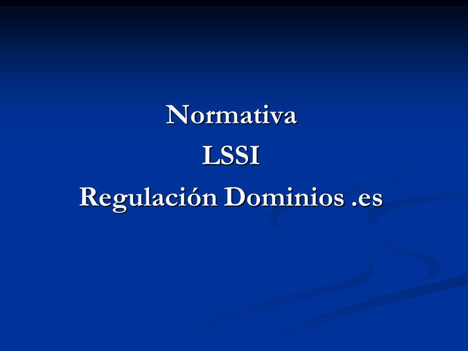 Normativa LSSI Regulación Dominios .es