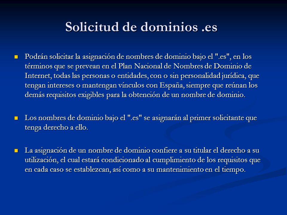 Solicitud de dominios .es