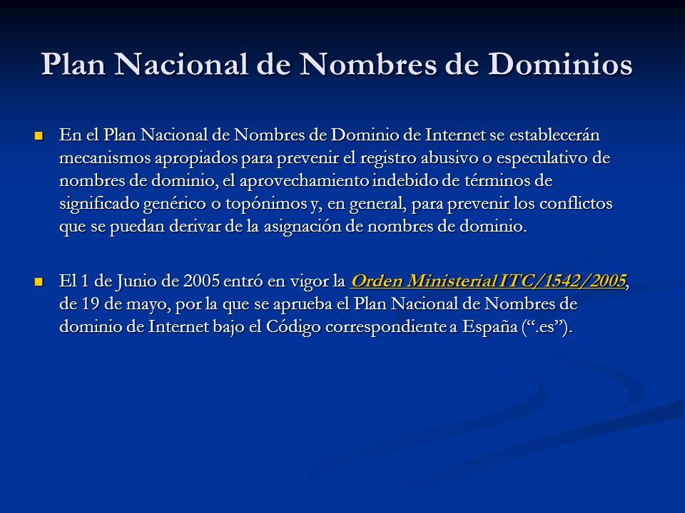 Plan Nacional de Nombres de Dominios