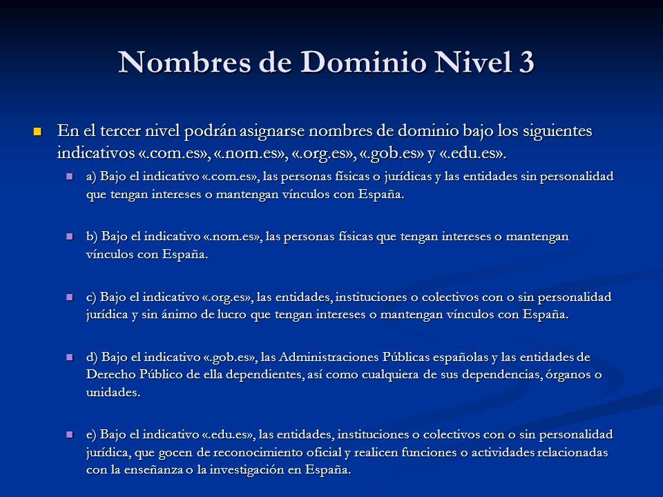 Nombres de Dominio Nivel 3