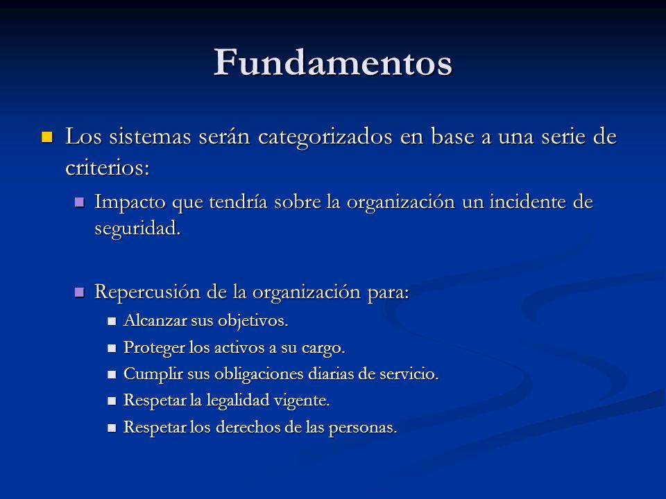 Fundamentos Los sistemas serán categorizados en base a una serie de criterios: Impacto que tendría sobre la organización un incidente de seguridad.