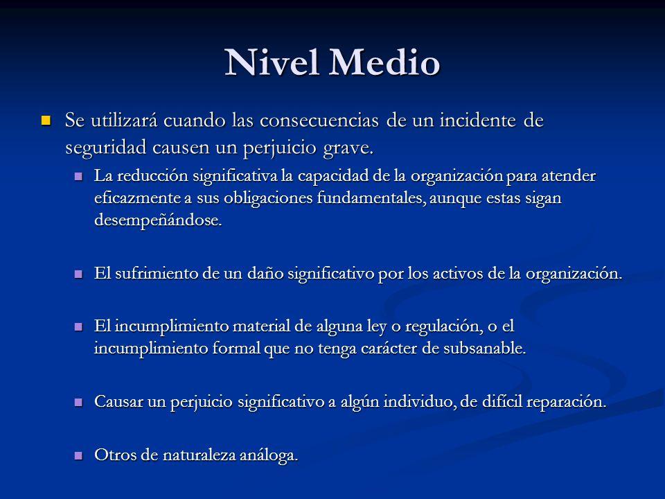 Nivel Medio Se utilizará cuando las consecuencias de un incidente de seguridad causen un perjuicio grave.