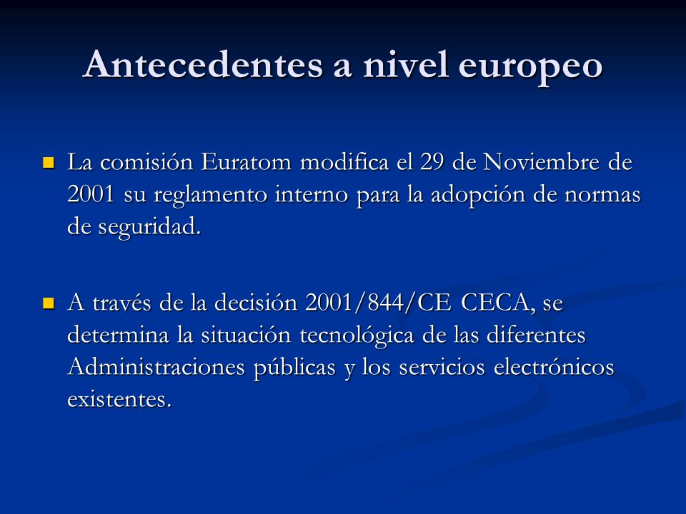 Antecedentes a nivel europeo