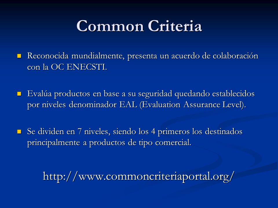 Common Criteria http://www.commoncriteriaportal.org/