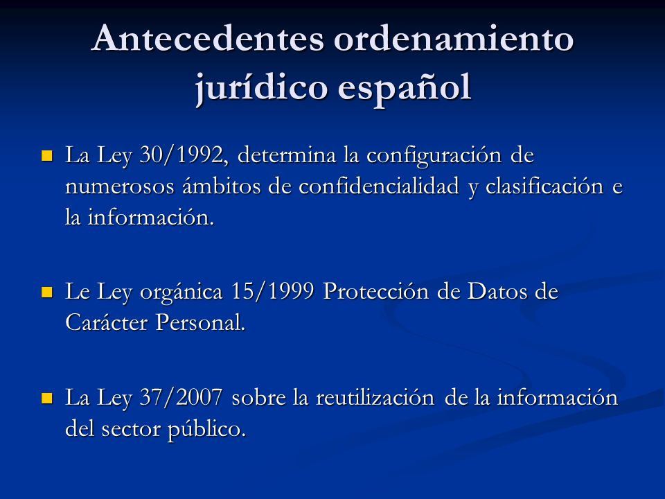Antecedentes ordenamiento jurídico español