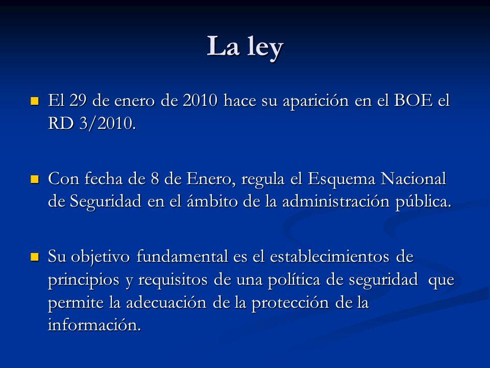 La ley El 29 de enero de 2010 hace su aparición en el BOE el RD 3/2010.