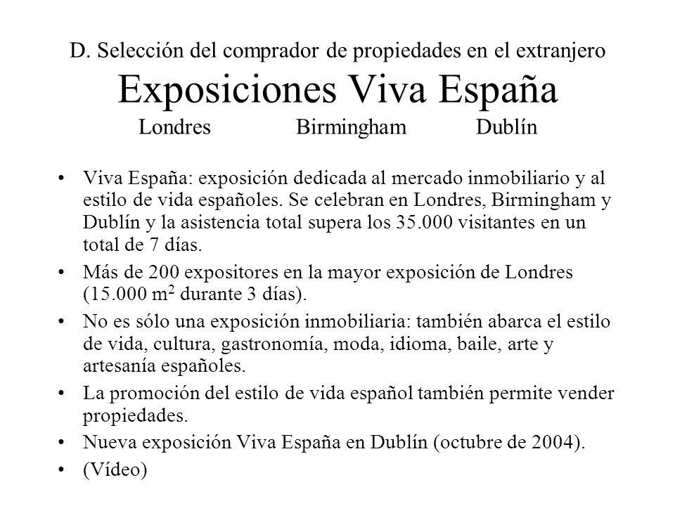 D. Selección del comprador de propiedades en el extranjero Exposiciones Viva España Londres Birmingham Dublín