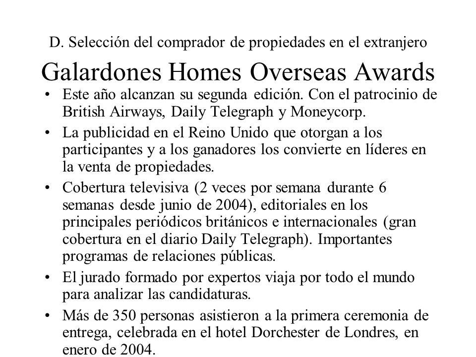 D. Selección del comprador de propiedades en el extranjero Galardones Homes Overseas Awards