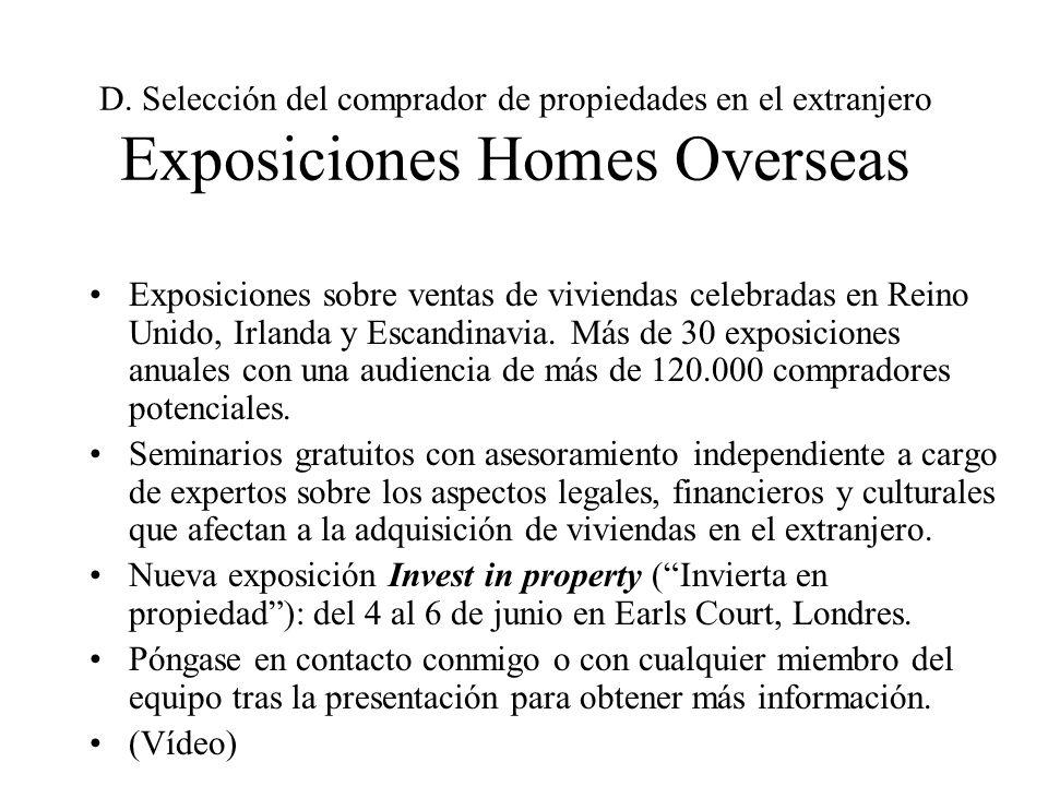 D. Selección del comprador de propiedades en el extranjero Exposiciones Homes Overseas