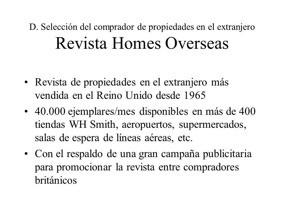 D. Selección del comprador de propiedades en el extranjero Revista Homes Overseas