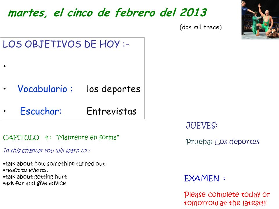 martes, el cinco de febrero del 2013 (dos mil trece)