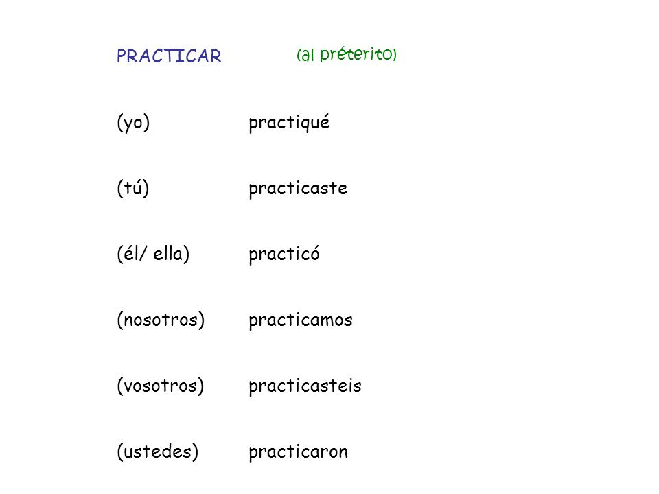 PRACTICAR (yo) practiqué