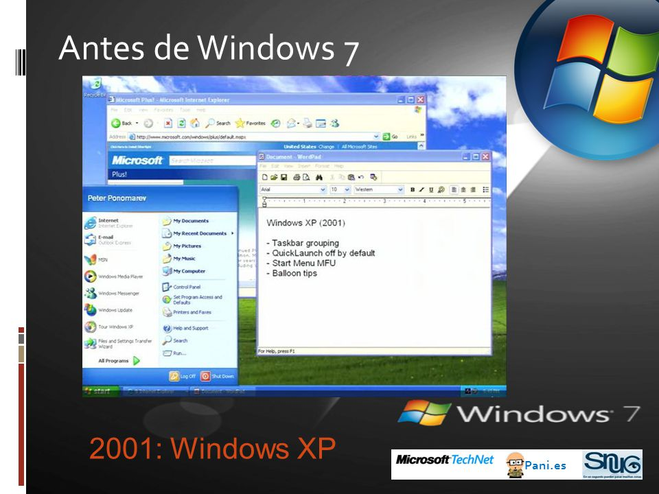 Antes de Windows 7 2001: Windows XP Pani.es