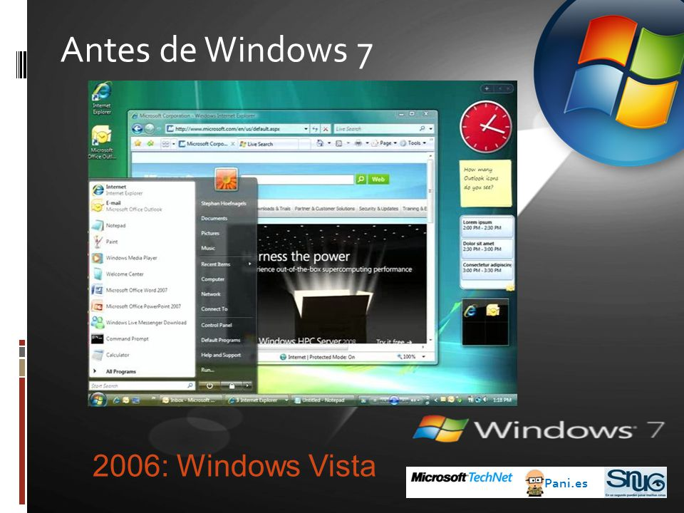 Antes de Windows 7 2006: Windows Vista Pani.es