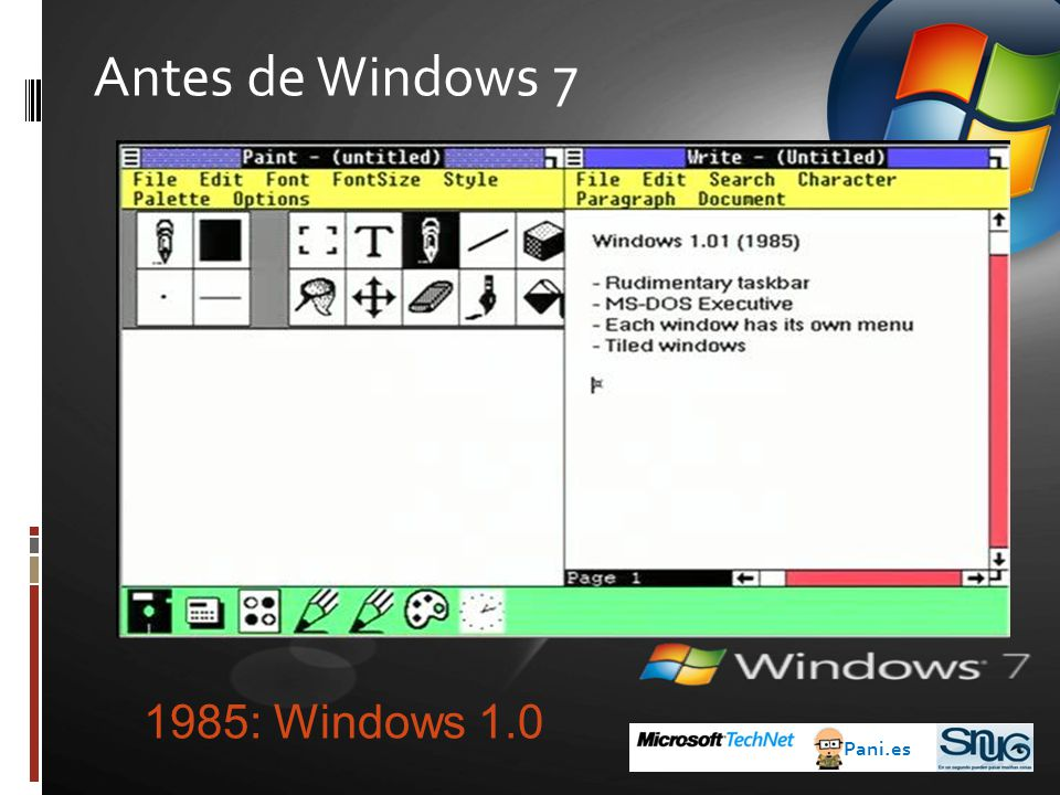 Antes de Windows 7 1985: Windows 1.0 Pani.es