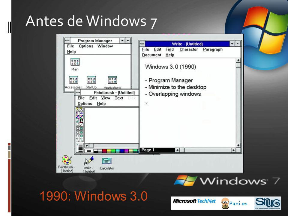 Antes de Windows 7 1990: Windows 3.0 Pani.es