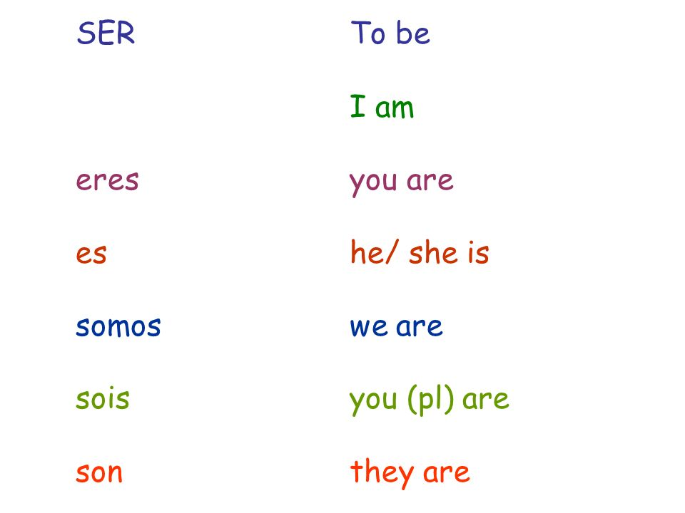 SER To be I am. eres you are. es he/ she is.