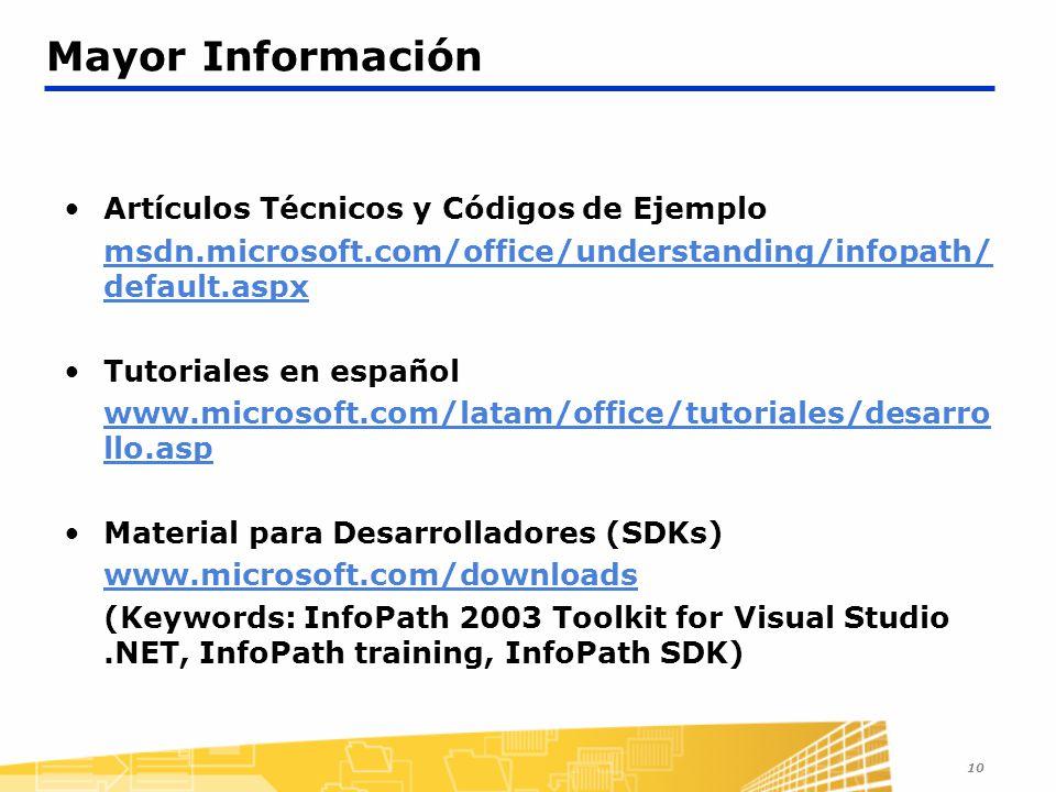 Mayor Información Artículos Técnicos y Códigos de Ejemplo