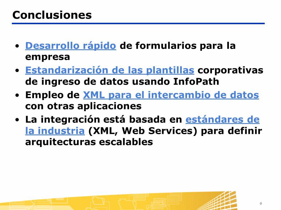 Conclusiones Desarrollo rápido de formularios para la empresa