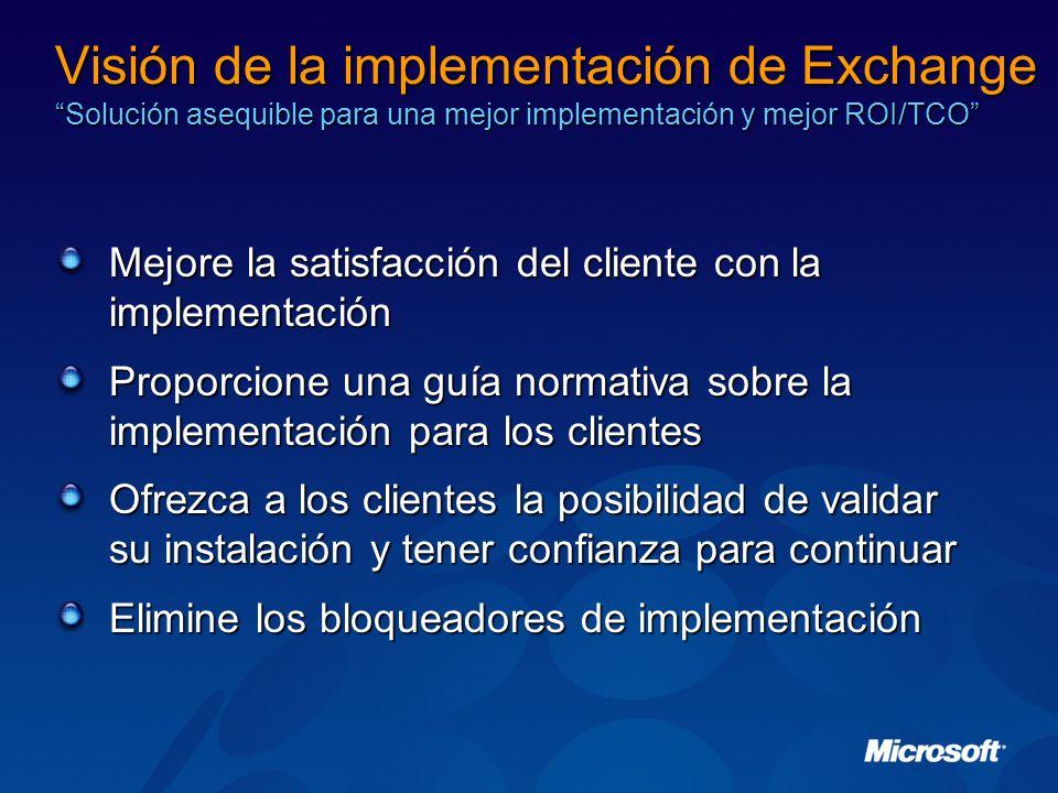 Visión de la implementación de Exchange Solución asequible para una mejor implementación y mejor ROI/TCO