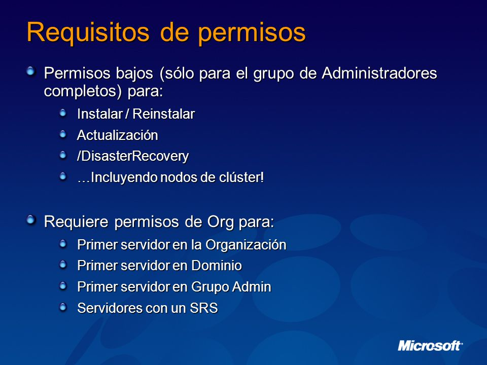 Requisitos de permisos