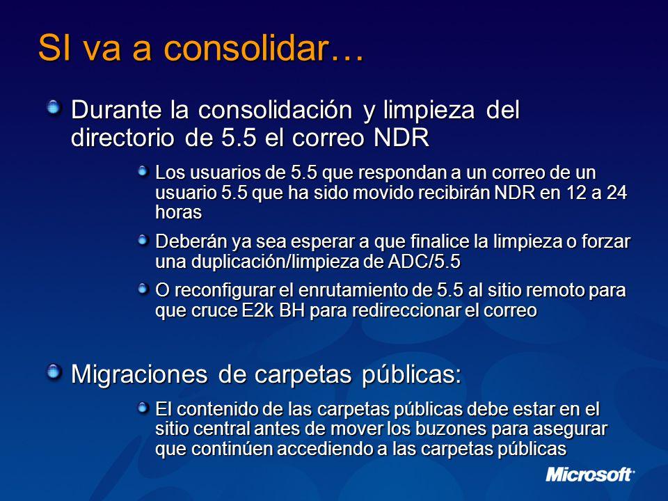 SI va a consolidar… Durante la consolidación y limpieza del directorio de 5.5 el correo NDR.