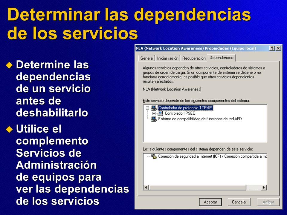 Determinar las dependencias de los servicios