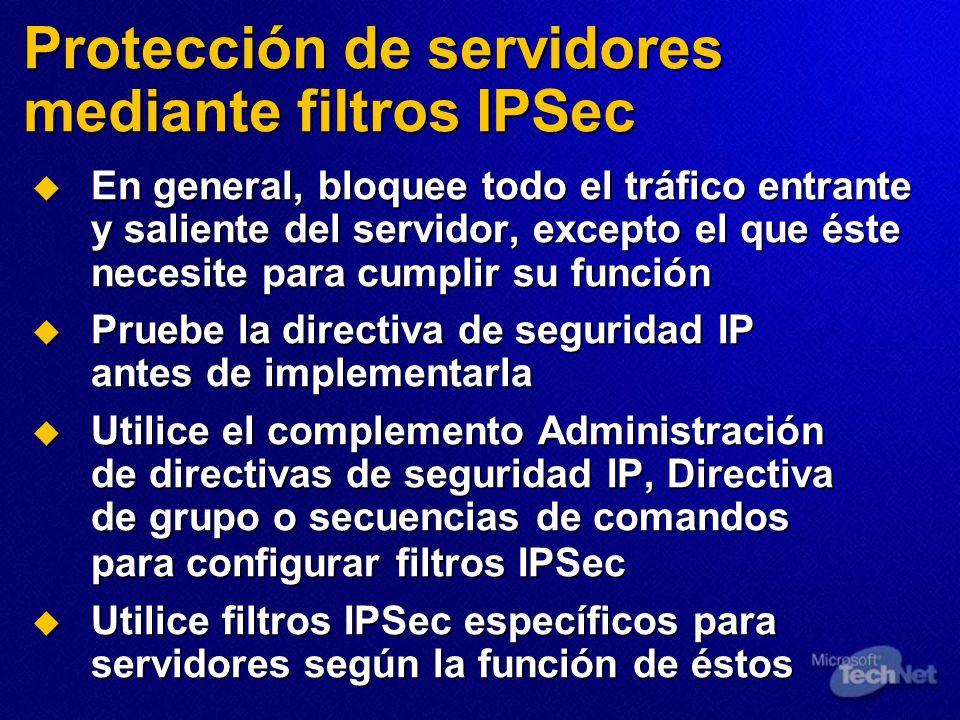 Protección de servidores mediante filtros IPSec