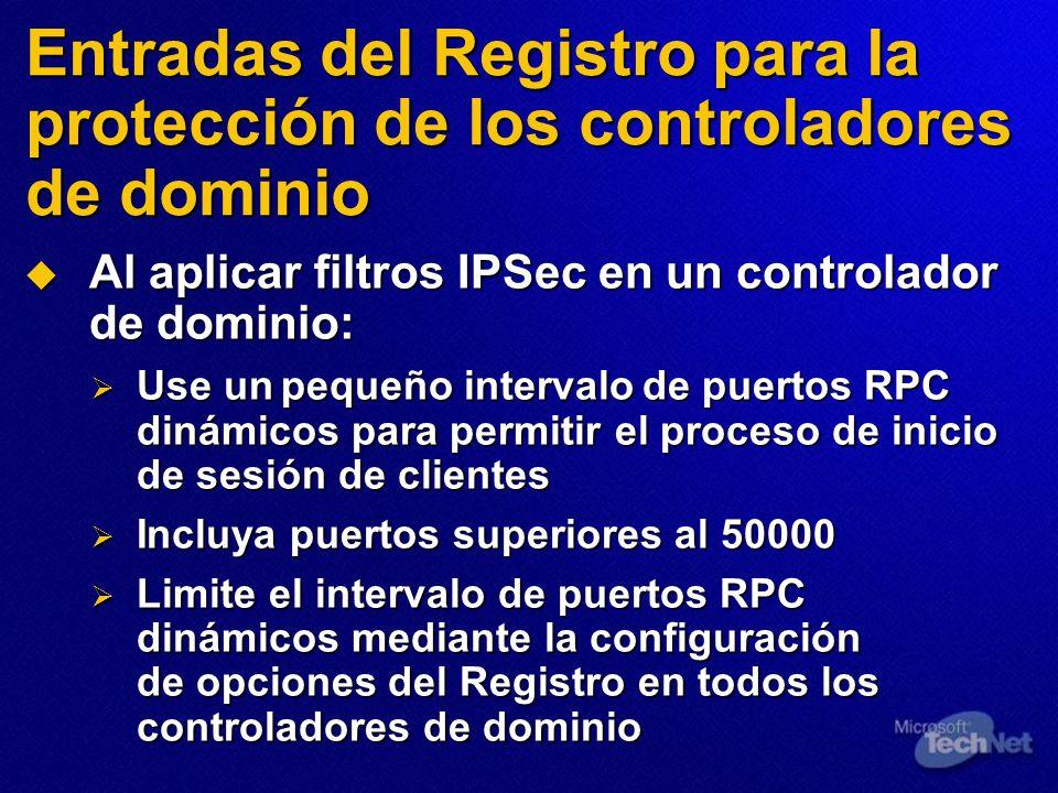 Entradas del Registro para la protección de los controladores de dominio