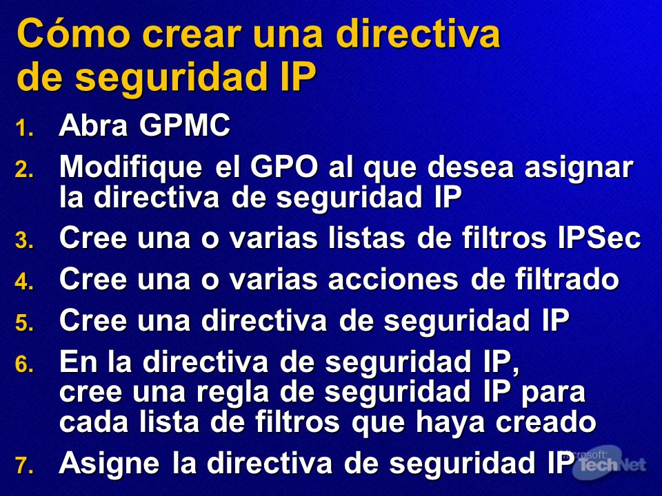 Cómo crear una directiva de seguridad IP