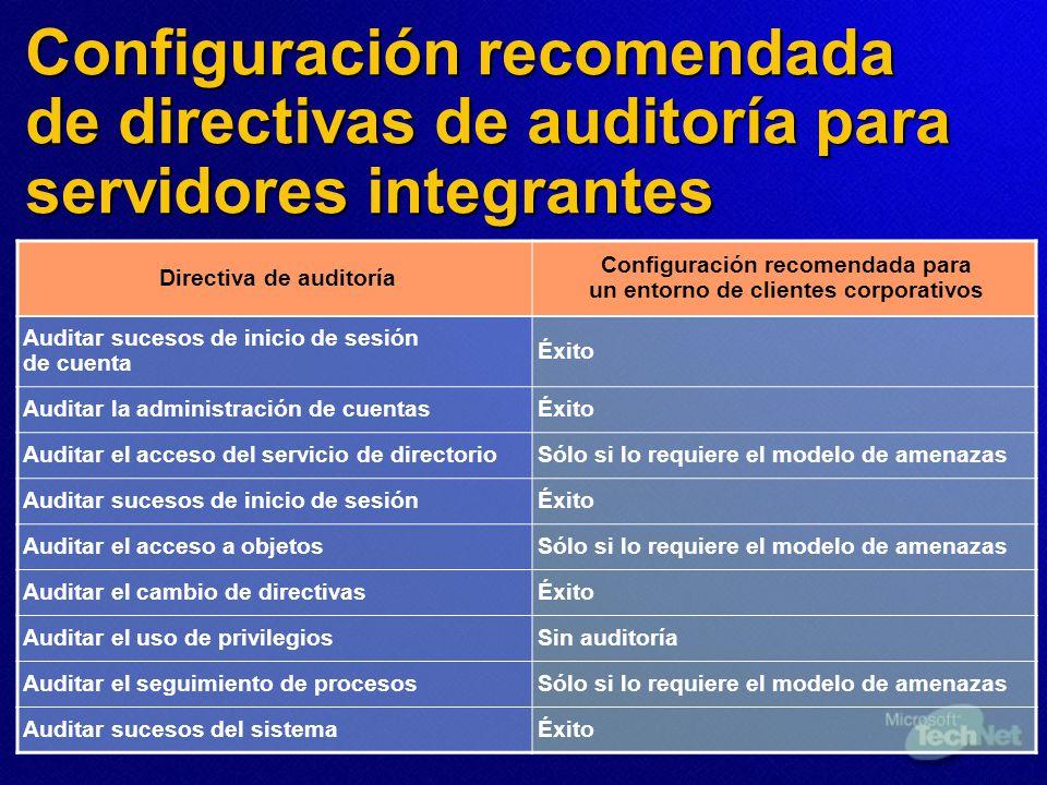Configuración recomendada de directivas de auditoría para servidores integrantes