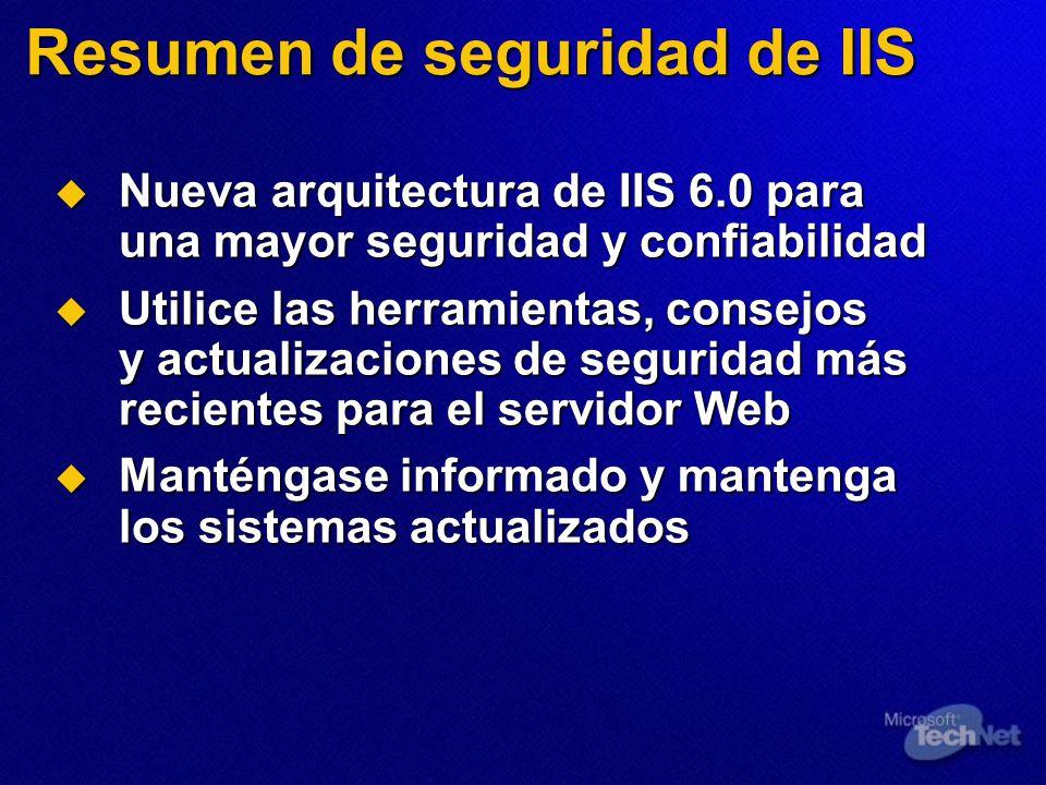Resumen de seguridad de IIS