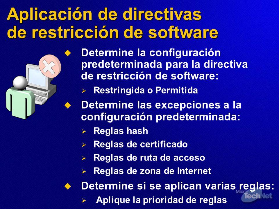 Aplicación de directivas de restricción de software