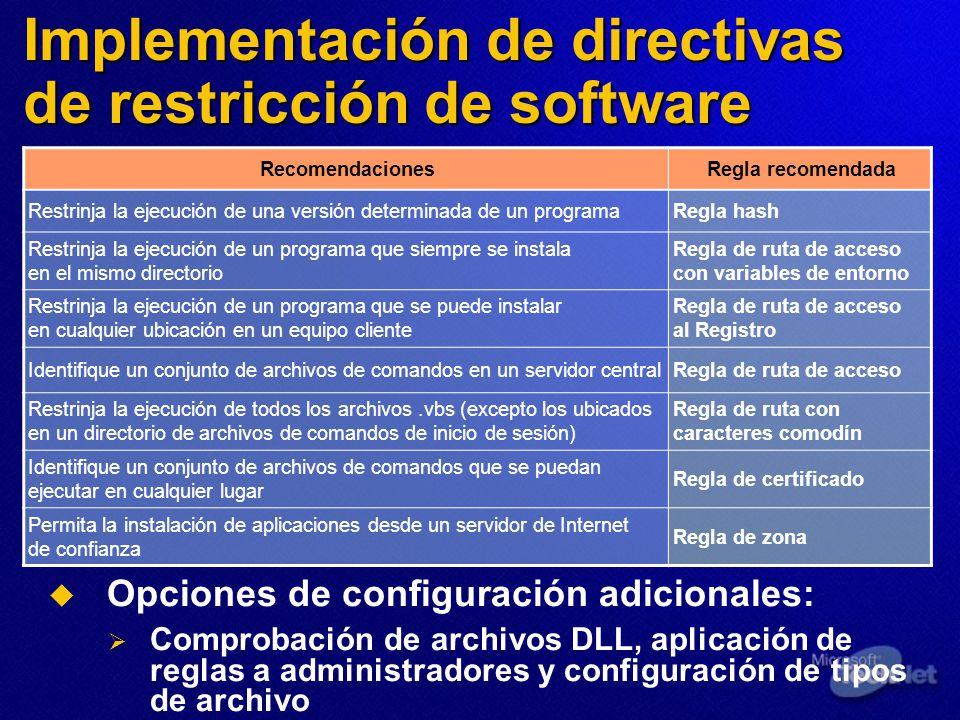 Implementación de directivas de restricción de software