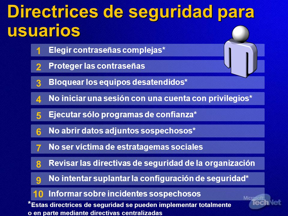 Directrices de seguridad para usuarios