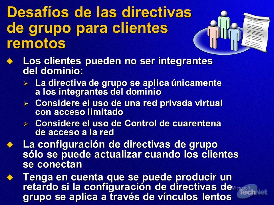 Desafíos de las directivas de grupo para clientes remotos