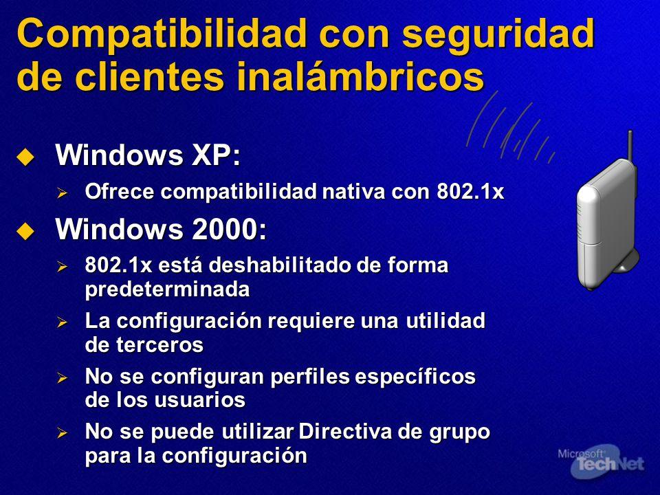 Compatibilidad con seguridad de clientes inalámbricos